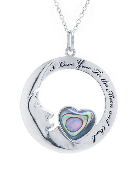 Fine Silver Plated Abalone Open Heart I love you to the moon and back Necklace