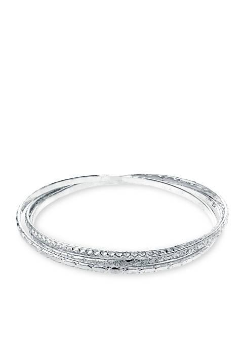 Belk Silverworks Fine Silver-Plated Textured Triple Linked