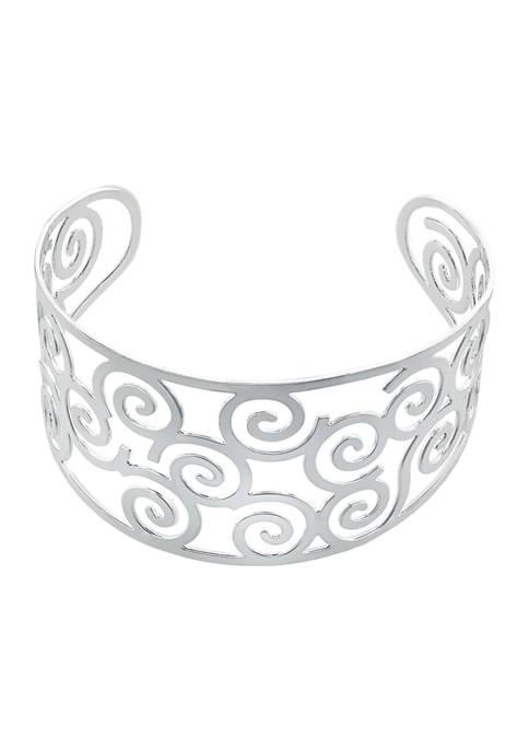 Athra NJ Fine Silver Plated High Polished Swirl
