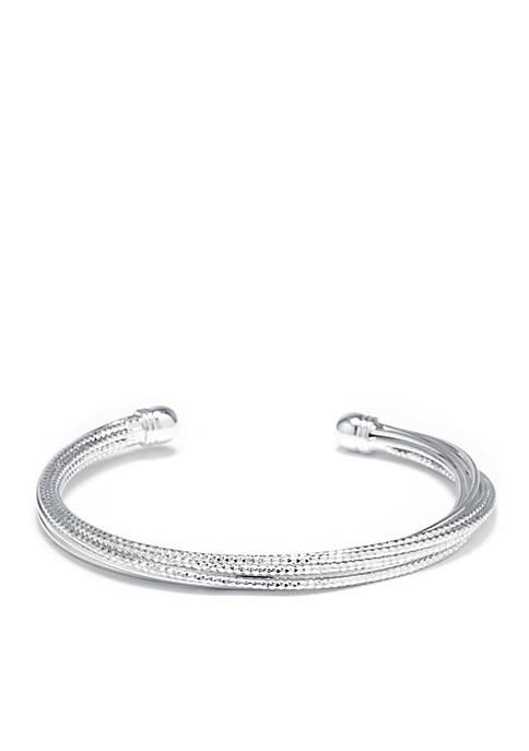 Belk Silverworks Fine Silver Plated Diamond Cut Cuff