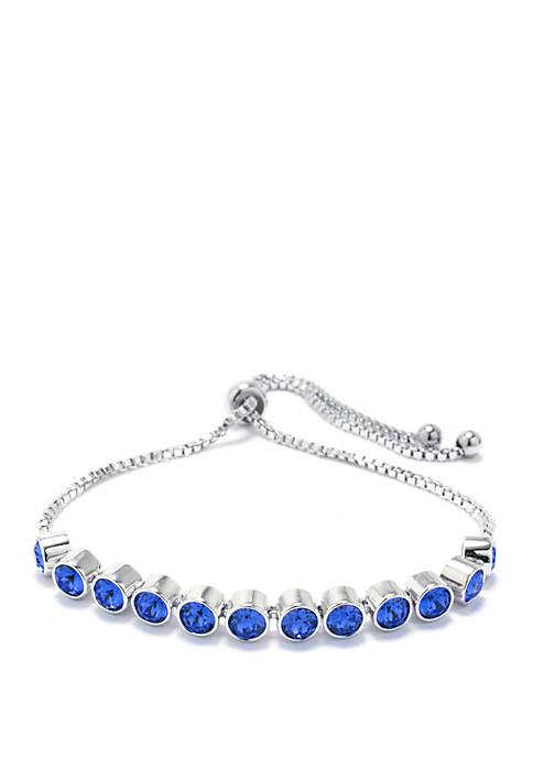 Belk Silverworks Fine Silver Plated Blue Swarovski Crystal