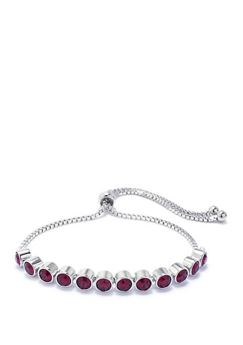 Fine Silver Plated Red Swarovski Crystal Bezel Adjustable Bolo Bracelet