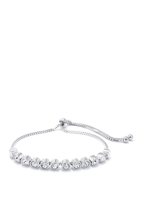 Fine Silver Plated Clear Swarovski Crystal Bezel Adjustable Bolo Bracelet