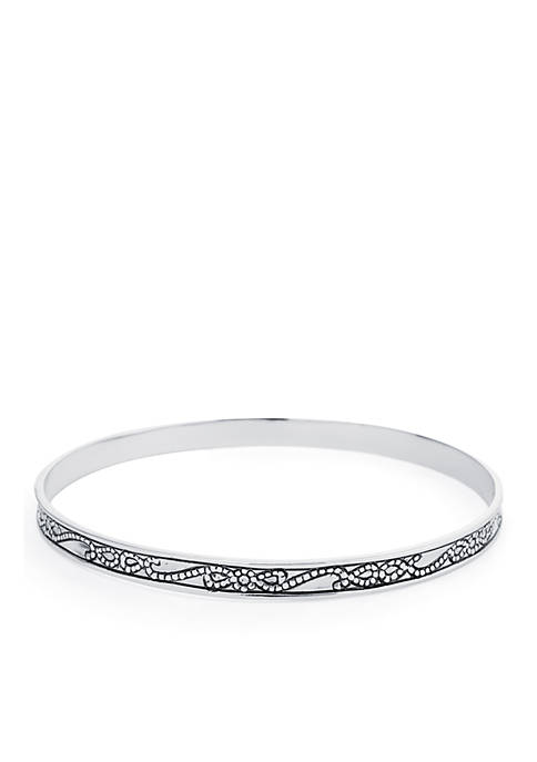 Belk Silverworks Silver-Tone Braid Rope Flower Bangle Bracelet