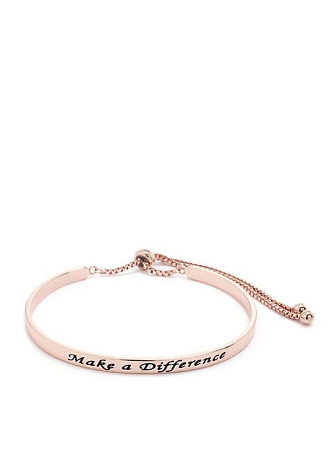 Make A Difference Engraved Slider Bracelet