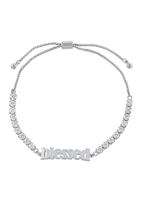 Belk Silverworks Fine Silver Plated Cubic Zirconia Blessed