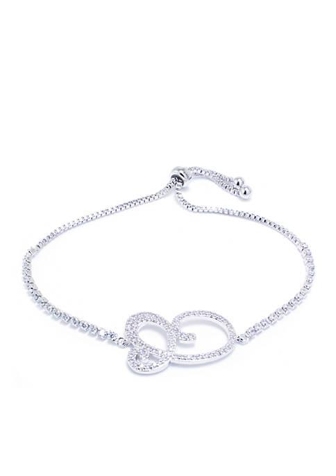 Belk Silverworks Silver-Plated Initial C Slider Boxed Bracelet