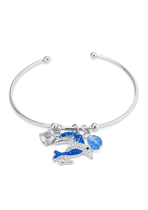 Boxed Fine Silver-Plated Crystal Pave Double Dolphin Charm