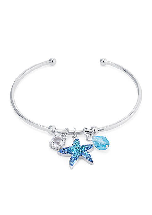 Boxed Fine Silver-Plated Crystal Pave Starfish Charm Cuff
