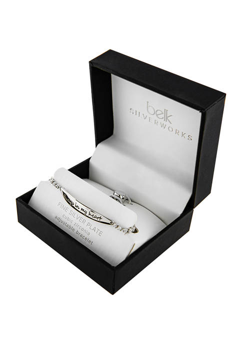 "Boxed Fine Silver Plated ""Always In My Heart"" Cubic Zirconia Bracelet"