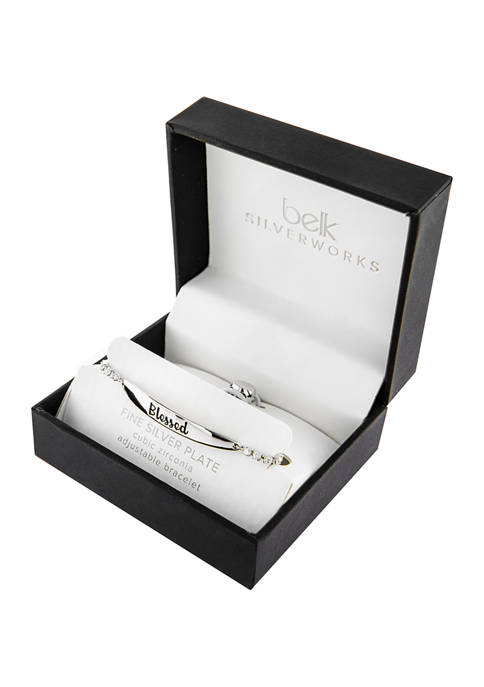 Boxed Fine Silver Plated Adjustable Bracelet - Blessed