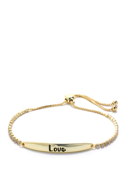 "Belk Silverworks Gold Over Sterling Silver ""Love"" Cubic"