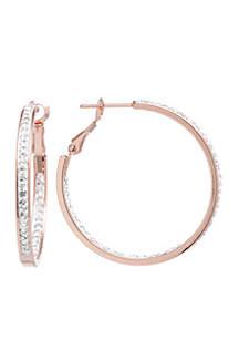 Rose-Gold Tone Crystal Hoop Earrings