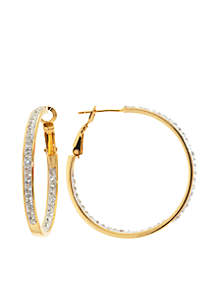 Gold Over Fine Silver-Plated Clear Crystal Clutchless Hoop Earrings