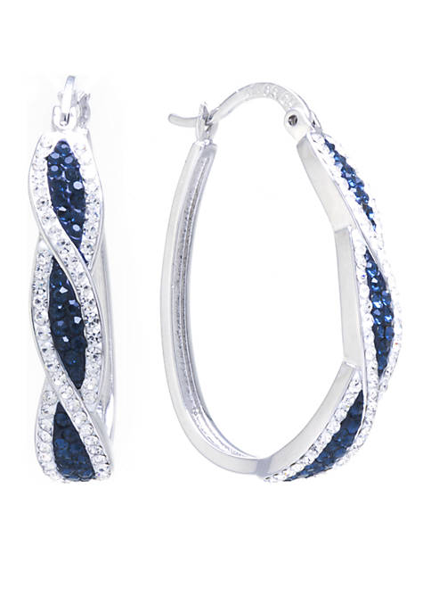 Belk Silverworks Dark Blue and Crystal Twist Hoop