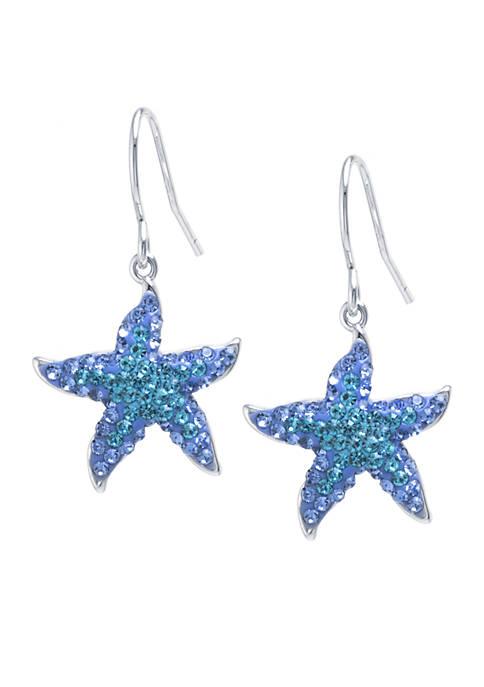 Box Crystal Starfish Earrings