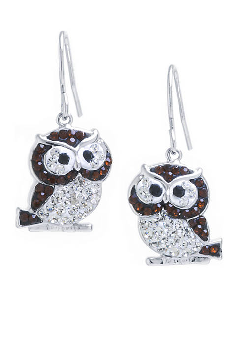 Belk Silverworks Boxed Fine Silver-Plated Crystal Pave Owl