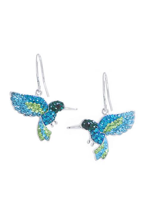 Box Crystal Hummingbird Earrings