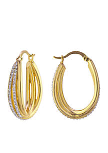 Boxed Gold Over Fine Silver Plate Crystal Click Top Twist Hoop Earrings