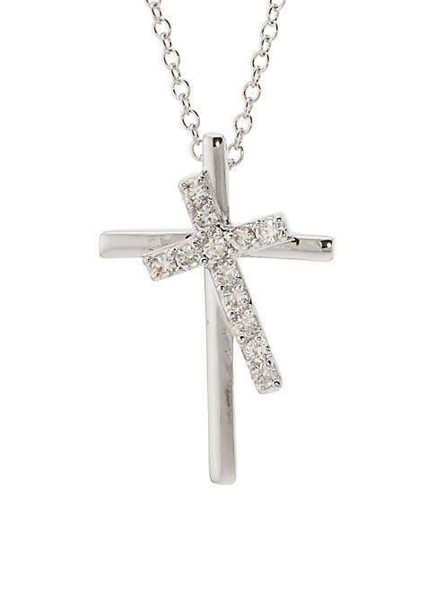 Belk Silverworks Double Cross Pendant Necklace Box Set