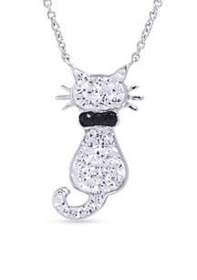 Silver-Plated Cat Pendant Boxed Necklace