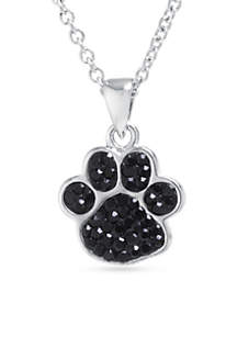 Fine Silver Plated Black Crystal Pave Paw Print Necklace