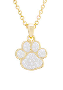 Yellow Gold Over Fine Silver Plated Caviar Pearl Paw Print Pendant Necklace