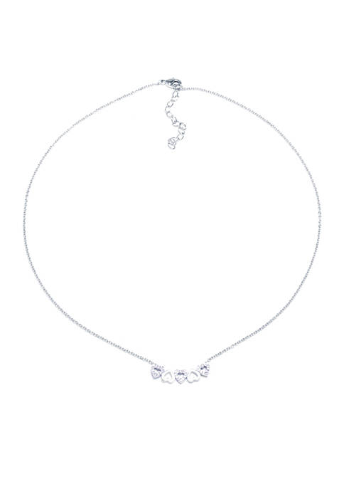 Fine Silver-Plated CZ Multi Heart Curved Pendant Necklace