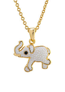 Yellow Gold Over Fine Silver Plated Caviar Pearl Elephant Pendant Necklace