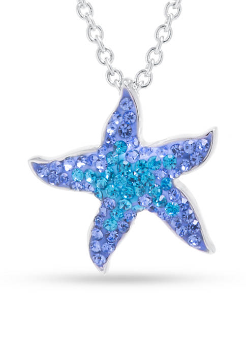 Fine Silver Plated Blue Crystal Pave Starfish Necklace