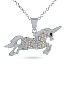 Silver-Plated Unicorn Pendant Boxed Necklace