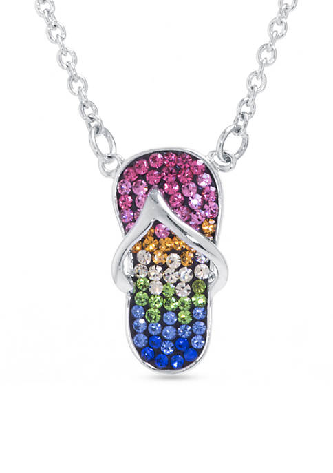 Fine Silver Plate Rainbow Crystal Pave Flip Flop Boxed Necklace