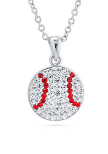 Silver Plated Clear Crystal Baseball Chain Necklace