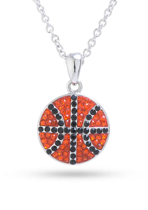 Belk Silverworks Silver-Plated Crystal Basketball Boxed Necklace