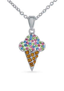 Silver-Plated Rainbow Crystal Ice Cream Cone Pendant Boxed Necklace
