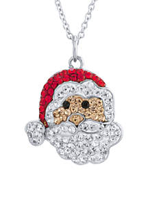 Fine Silver-Plated Crystal Pave Santa Claus Necklace