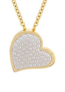Yellow Gold Over Fine Silver Plated Caviar Pearl Heart Pendant Necklace