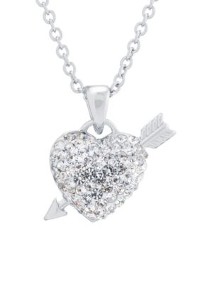 Belk Silverworks  Fine Silver Plated Crystal Pave Heart And Arrow Necklace