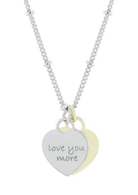 Belk Silverworks Women Boxed Fine Silver Plated Love You More Two Tone Heart Pendant Necklace
