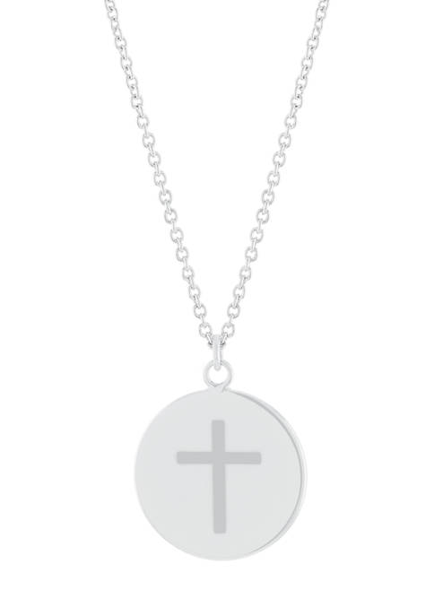 Boxed Fine Silver Plated 16 Inch Cross Engraved Disc Necklace
