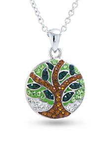 Silver Plated Clear Crystal Tree of Life Chain Necklace