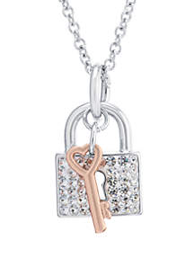 Fine Silver Plated High Polished Crystal Pave Lock And Key Necklace