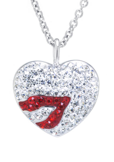 Boxed Fine Silver Plated Kiss On A Heart Pendant Necklace