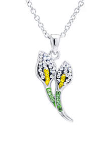 Boxed Fine Silver-Plated Crystal Pave Calla Lily Necklace