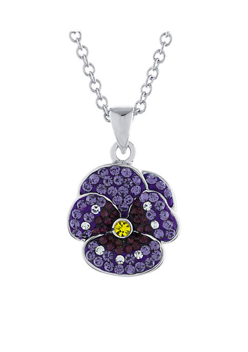 Fine Silver Plated Crystal Pave Purple Pansy Pendant