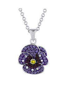 Fine Silver Plated Crystal Pave Purple Pansy Pendant Necklace