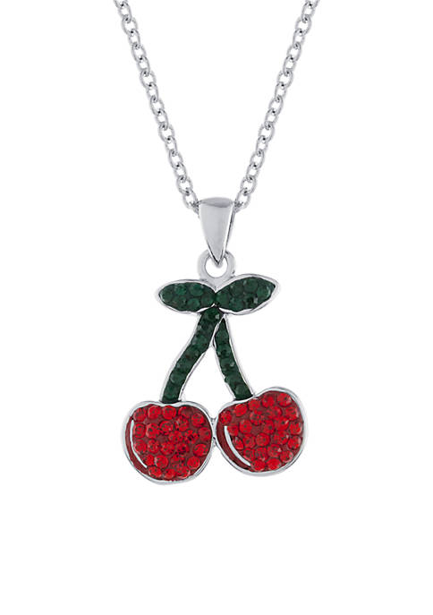 Boxed Fine Silver-Plated Crystal Pave Cherries Pendant Necklace