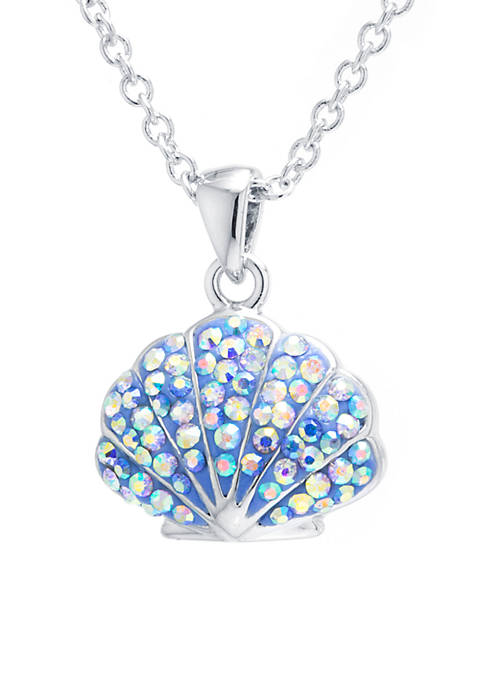 Boxed Fine Silver Plated Crystal Pave Shell Pendant Necklace