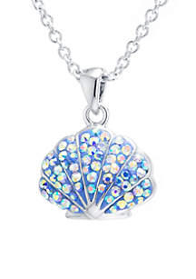 Belk Silverworks Boxed Fine Silver Plated Crystal Pave Shell Pendant Necklace