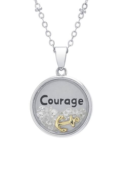 Belk Silverworks Silver Plated Courage Crystal Shaker Necklace